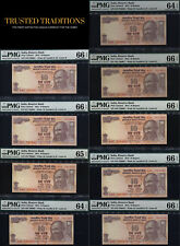 TT 2015 INDIA 10 RUPEE SEQUENTIAL SACRED S/N 786001 THRU 786010 SET OF 9 PMG 66