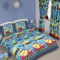 CONSTRUCTION TIME DOUBLE DUVET COVER NEW BUILDER DIGGERS BOYS BEDDING