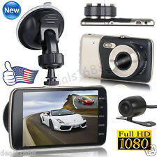 HD 1080P 4'' Dual Lens Camera Car DVR Vehicle Video Dash Cam Recorder G-Sensor