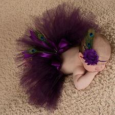 Newborn Girl Baby Photo Prop Costume Sets Peacock Eye Flower Headwear TUTU Skirt