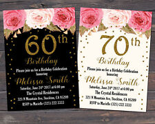 60th, 70th, 80th, 90th Invitation, Floral Birthday Invitation / Any Age