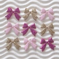"""180 pc x 5/8"""" Mix Padded Glittered Felt Bow Ribbon Appliques for Christmas ST274"""