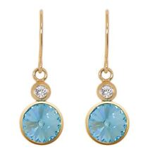DSE 5087678 Twin Solitaire Long Earrings Swarovski aquamarine crystal Authentic
