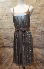 EXPRESS Womens Small  Bronze Metallic Sequin Cocktail Dress  Ribbon Tie Waist