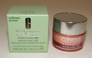 Clinique All About Eyes RICH 0.5 Oz 15 mL Full Size NIB Puffiness Eye Cream