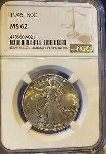 1945 50C Walking Lady Liberty NGC MS 62