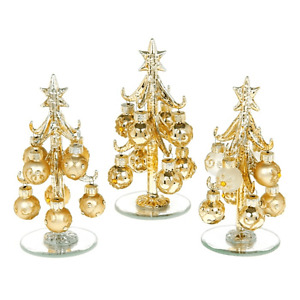 New Decorated  Gold15cms small glass Christmas Tree Baubles 3 designs Free P&P