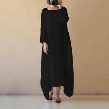 UK 8-26 Women Cotton Linen Maxi Dress Long Sleeve Casual Boho Kaftan Basic Tunic Black XL