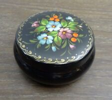 Vintage Russian Black Lacquer Trinket Jewelry Box Hand Painted Signed
