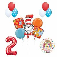 13 pc Dr Seuss Cat in the Hat 2nd Birthday Party Balloon  supplies