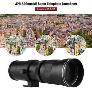 Camera MF Super Telephoto Zoom Lens F/8.3-16 420-800mm T Mount For Canon Nikon