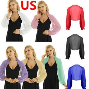 US Women Chiffon Open Front Cardigan Shrug Bolero Long Sleeves Crop Top Blouse