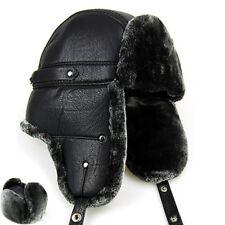 Fashion Mens Thicken Short Plush Trapper Hat Leather Winter Ski Cap Dad Hat