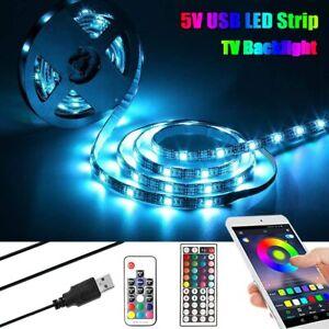 RGB 5050 LED Strip Lights Music Bluetooth App Remote Cabinet TV Back Bar Lights