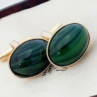 Vintage - CZECH 1950s Green & Black Striped Glass - Oval Gold Plated Cufflinks