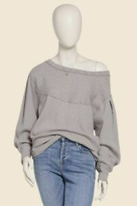 Free People OG Long Sleeve Pullover Top Stone Size Large #OB1164798