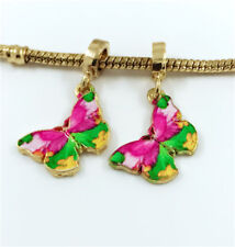 2pcs Butterfly Gold European Charm Crystal Spacer Beads Fit Necklace Bracelet A1