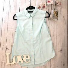 Jaeger Size 10 blue sleeveless button down pure cotton shirt VGC summer