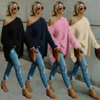 Shoulder Long Womens Sleeve Ladies Tops Baggy Jumper Sweater Fluffy Pullover