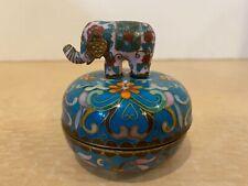 "1992 Ardleigh Elliott ""Elephant Procession"" Cloisonne Trinket Music Box #73361"