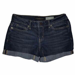 Aeropostale Dark Wash Cuffed Midi Mid Rise Jean Shorts 00