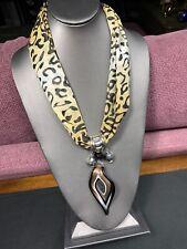 Vintage Bohemian Unusual Amazing Leopard Print Glass Pendant Statement Necklace