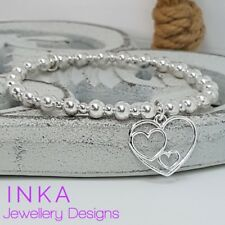 Inka Sterling Silver CHUNKY beaded Stacking Bracelet with a Triple Heart charm