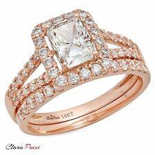 1.6CT Emerald Cut Wedding Engagement Bridal Ring Band set 14k Rose Gold
