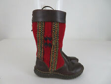 Born Red Wool Indian Blanket & Dark Brown Leather Mid-Calf Boots Blemish Sz 6.5