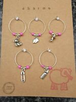 wine glass charms. Baby girl pink. Baby Shower bear safety pin bottle dummy