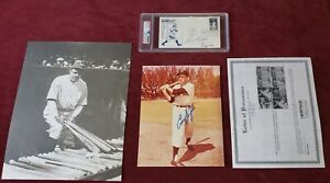 PSA/DNA Signed Encap ENOS SLAUGHTER GEORGE KELL BABE RUTH 11x14 Babe Ruth Photo