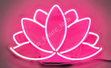 """New Lotus Neon Light Sign 14"""" Lamp Beer Pub Acrylic Real Glass"""