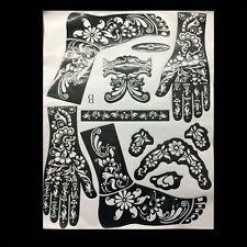India Mehndi Hand Leg Henna Painted Stencil Art Temporary Tattoo Template Typr