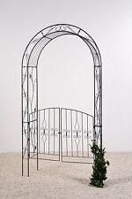 Rosenbogen mit Tor - Türen * Pergola * Metall  B131xT38xH245cm, anthrazit