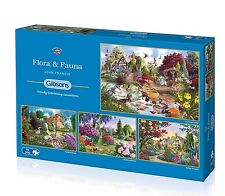 GIBSONS FLORA AND FAUNA 4 x 500 PIECE FLOWERS & WILDLIFE JIGSAW PUZZLE - NEW