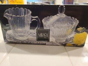 MIKASA Royal Suite Crystal Sugar and Creamer Set With Tray-New In Box