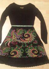 DESIGUAL DRESS EVENING BLACK MULTI COLOR PRINT LINED LOGO STYLISH SIZE S/M NEW
