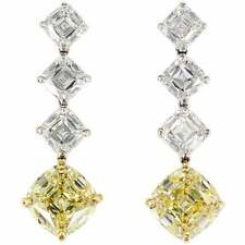 Internally Flawless Fancy Yellow With Vivid White Cushion Stones Simple Earrings