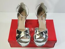 GUESS Silver CrissCross Chunky Heels Mirrored Ankle Strap NIB Size 7.5M  GFJOLIE
