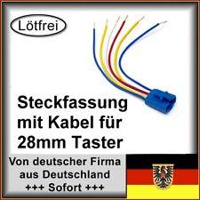 Steckfassung mit Kabeln für 28mm Taster / Schalter mit LED Beleuchtung