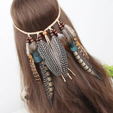 Women Hippie Indian Feather Headband Hair Band Weave Feathers Hair Rope Handmade