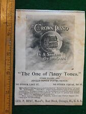 1898 Crown Piano, Geo. P. Bent, Chicago, Engraved Victorian Print Ad PA1