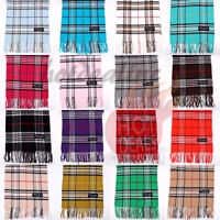 Men Women unisex 100% CASHMERE Tartan Stripe Plaid Wool Wrap Scarf