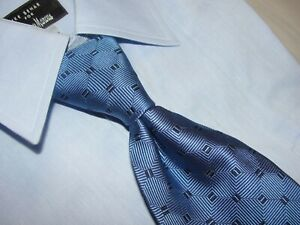 NEW BROOKS BROTHERS  BLUE GEOMETRIC 100% SILK NECKTIE MADE IN USA