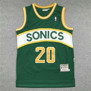 Gary Payton #20 Seattle Supersonics Throwback Swingman Green Jersey US Seller