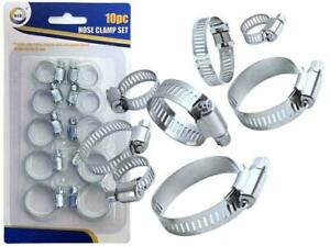 10 Pcs Assorted Stainless Steel Hose Clamp Kit With No Driver Jubilee Clip Set