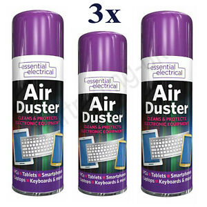 3x Essential Electrical Compressed Air Duster Cleans Protects Equipment 400ml