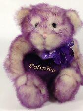 Walmart Valentines Purple White Bear with Heart Plush Stuffed Animal Rare