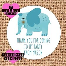 Personalised elephant 24 party bag stickers sweet cone labels thank you  cute