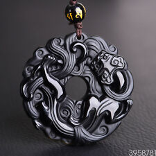 100% Natural Obsidian Black Jade Pendant Chinese Dragon Pixiu Lucky Donut